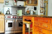 Vintage Wooden Kitchen Island Designs : Wooden Vintage Kitchen With Stunning Simple Kitchen Island Design Ideas Space Pantry With Sufficient Lights With Chairs And Refrigerators And Exposed Dish Rack