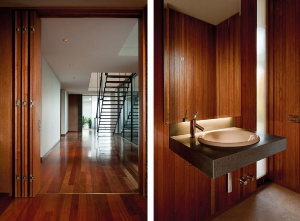 Remarkable House Design with Stylish Touch: Wooden Wall Wooden Floor Wooden Folding Door Staircase Faucet Washbasin ~ stevenwardhair.com Unique Home Design Inspiration