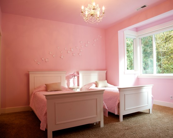 Beautiful Umbra Wall Flowers Set: Woodinville Retreat Wall Flower Decal On Pink Walls And Flowers Decoration On The Wall Above The Bed Chandelier  ~ stevenwardhair.com Bathroom Design Inspiration