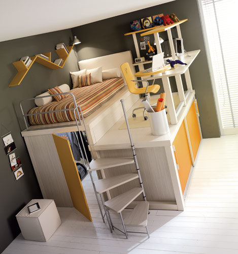 Colorful Bright Teenage Loft Bedrooms: Yellow Loft Teenage Bedroom With 2 Storage Floor With Hidden Closet Fine Study Desk And Chair With Unatural Cabinet Book Shape Hanging On The Wall ~ stevenwardhair.com Bed Ideas Inspiration
