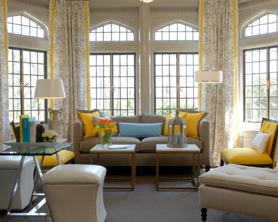 Beautiful Yellow Striped Shower Curtain: Yellow Pillows Chair And Curtains And Drapery With Yellow Edge Stripe Creates Height At Contemporary Living Room