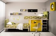 Kids Loft Double Beds : Yellow Themed Kids Loft Double Beds With A Comfortable And Cosy Mattress And An Awesome Cozy Reading Nook And Chair