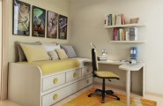 Cozy Compat Bedroom Style For Teenage : Yellow Themed Small Compact Bedroom With Comfortable Simple Sleeping Bed And Drawers Decoration White Custom Table With Hanging Bookshelves And Picture Wall With Rug Floor