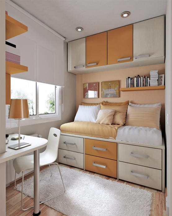 Modest Thoughtful Teenage Bedroom Design: Yellow Themed Small Teen Room Layout Cozy Glowing Space Decorating Modern Furniture For Cool Youth Bedroom With Awesome Built In Workplace Installations Ideas