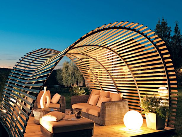 Various Beautiful Peaceful Pergola Design Ideas: Awesome Modern Garden Pergola Design Witn Outdoor Relaxing Furniture And Lighting ~ stevenwardhair.com Furniture Inspiration
