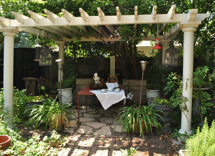 Various Beautiful Peaceful Pergola Design Ideas : Beautiful Old Style Garden Pergola Design With Framework Covered In Climbing Or Trailing Plants