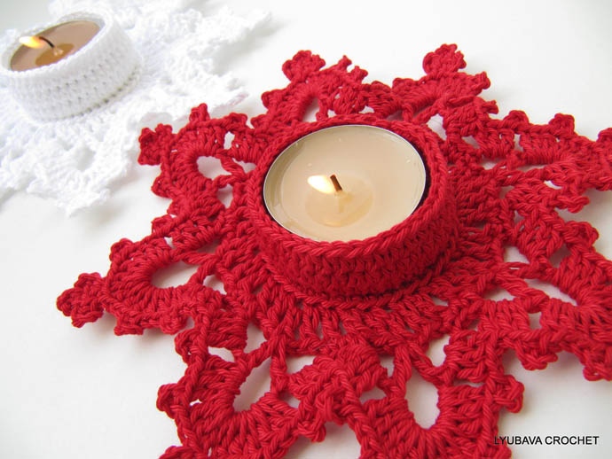 Crocheted Decorations For Your Christmas Tree : Beautiful Red Star Shape Crocheted Candle Cover For Christmas Table Decoration