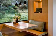 All Kind Of Interesting Dining Table Design Ideas : Cool Backyard View Window Console Wooden Dining Table And Seat With Cushion And Small Pendant Light In Wooden Room