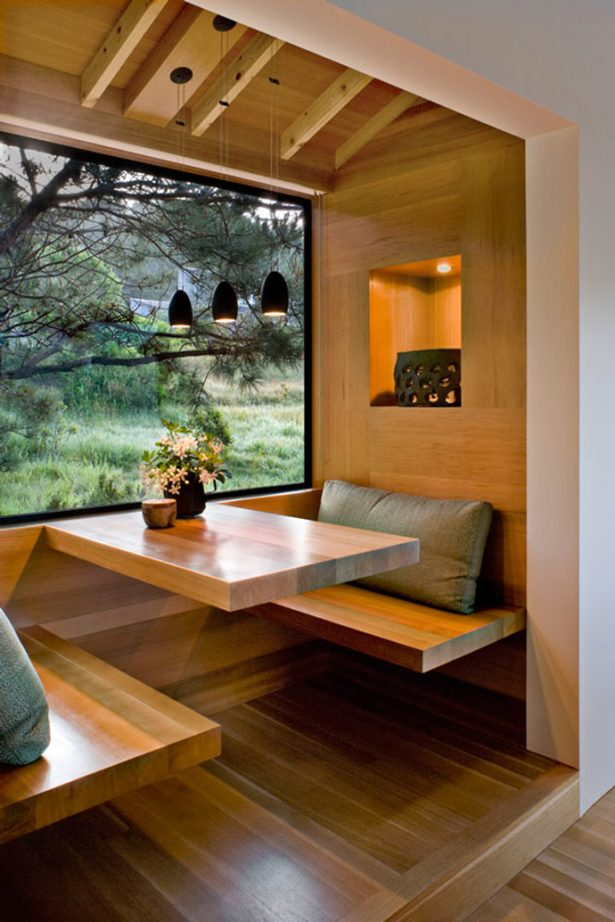 All Kind Of Interesting Dining Table Design Ideas: Cool Backyard View Window Console Wooden Dining Table And Seat With Cushion And Small Pendant Light In Wooden Room ~ stevenwardhair.com Dining Table Sets Inspiration