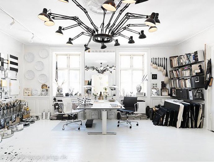 All Kind Of Interesting Dining Table Design Ideas : Cool Black And White Theme Room Decoration With Drawing Desk As A Adjustable Dining Table With Black Spider Like Pendant Light And Big Mirror