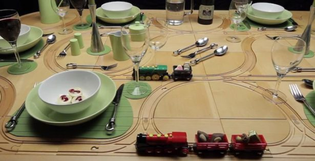 All Kind Of Interesting Dining Table Design Ideas: Cool Creative Wooden Dining Table Design With Railroad On Top Table Ideas With Green Themes ~ stevenwardhair.com Dining Table Sets Inspiration