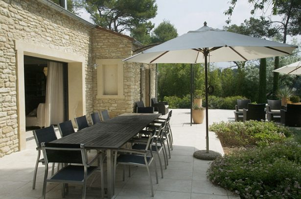 All Kind Of Interesting Dining Table Design Ideas: Cool Outdoor Dining Table Design With Umbrella Garden Stone Wall Exterior Design ~ stevenwardhair.com Dining Table Sets Inspiration