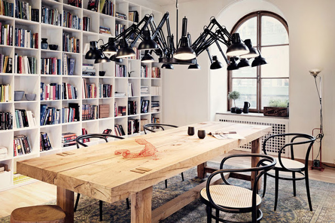 All Kind Of Interesting Dining Table Design Ideas: Cool Rectangular Solid Wood Table Design With Armchair On Floral Area Rug And Spider Look Pendant Lighr And High End Bookshelves And Curve Window Ideas