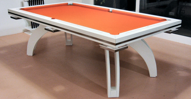 All Kind Of Awesome Luxury Pool Diner Table Design : Cool White Lacquer  Modern Pool Table