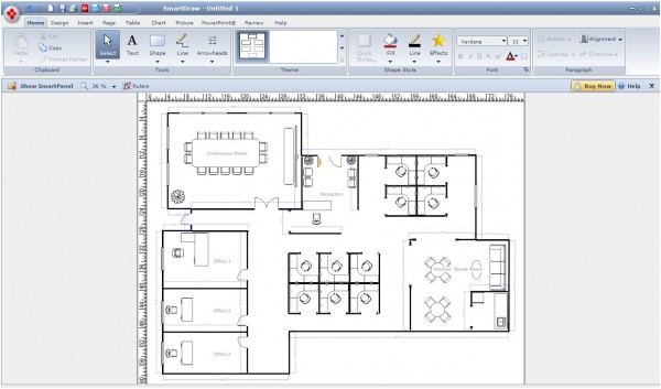 Best Free Online Virtual Programs For Planning And Designing Home : SmartDraw Picture 2 Example Office
