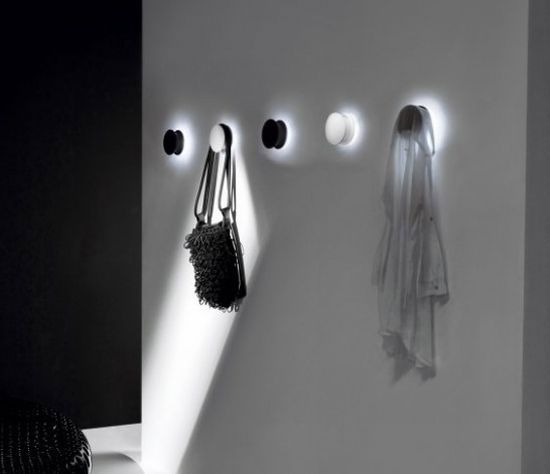 The Most Creative Wall Hook Design: The Alone Light Hangers By Daniele Trebbi For Palluco Circular Hangers Emit A Soft Wall Light That Is Casted On The Clothes