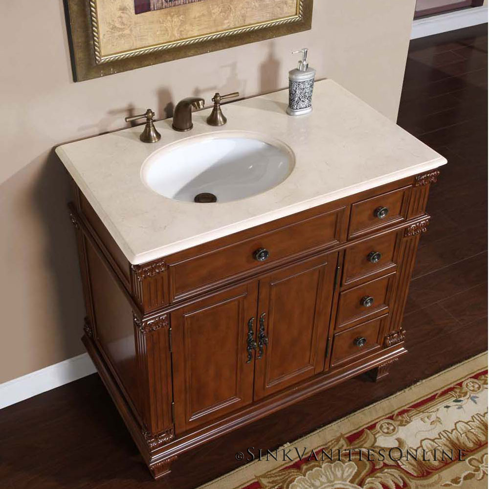 Bathroom Sink Cabinet Ideas: 36 Caroline Marble Top White Ceramic Left Sink Bathroom Single Bathroom Sink Cabinet Ideas