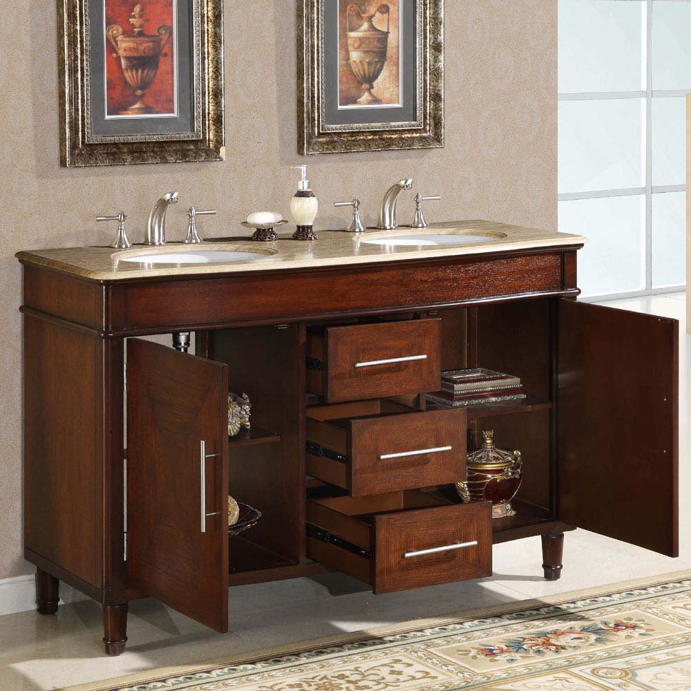 Bathroom Sink Cabinet Ideas: 55 Silkroad Cambridge Double Sink Cabinet Bathroom Vanity Bathroom Sink Cabinet Ideas