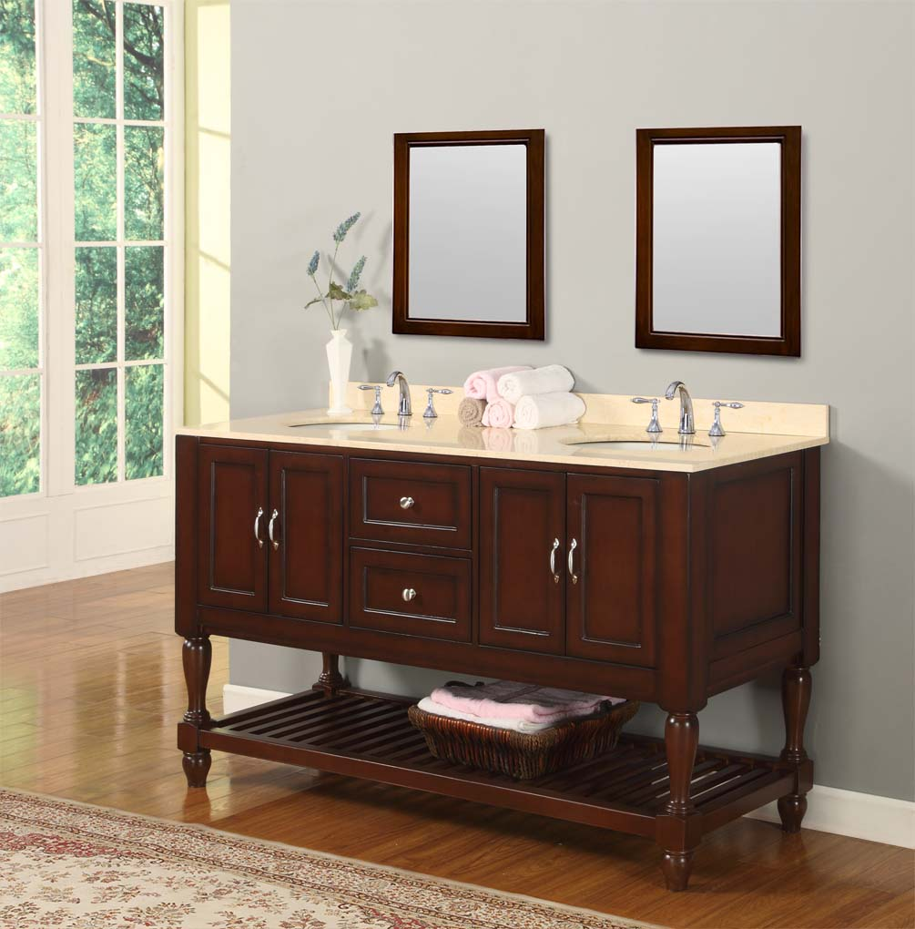Bathroom Sink Cabinet Ideas: 60 Mission Turnleg Style Double Bathroom Vanity Sink Bathroom Sink Cabinet Ideas