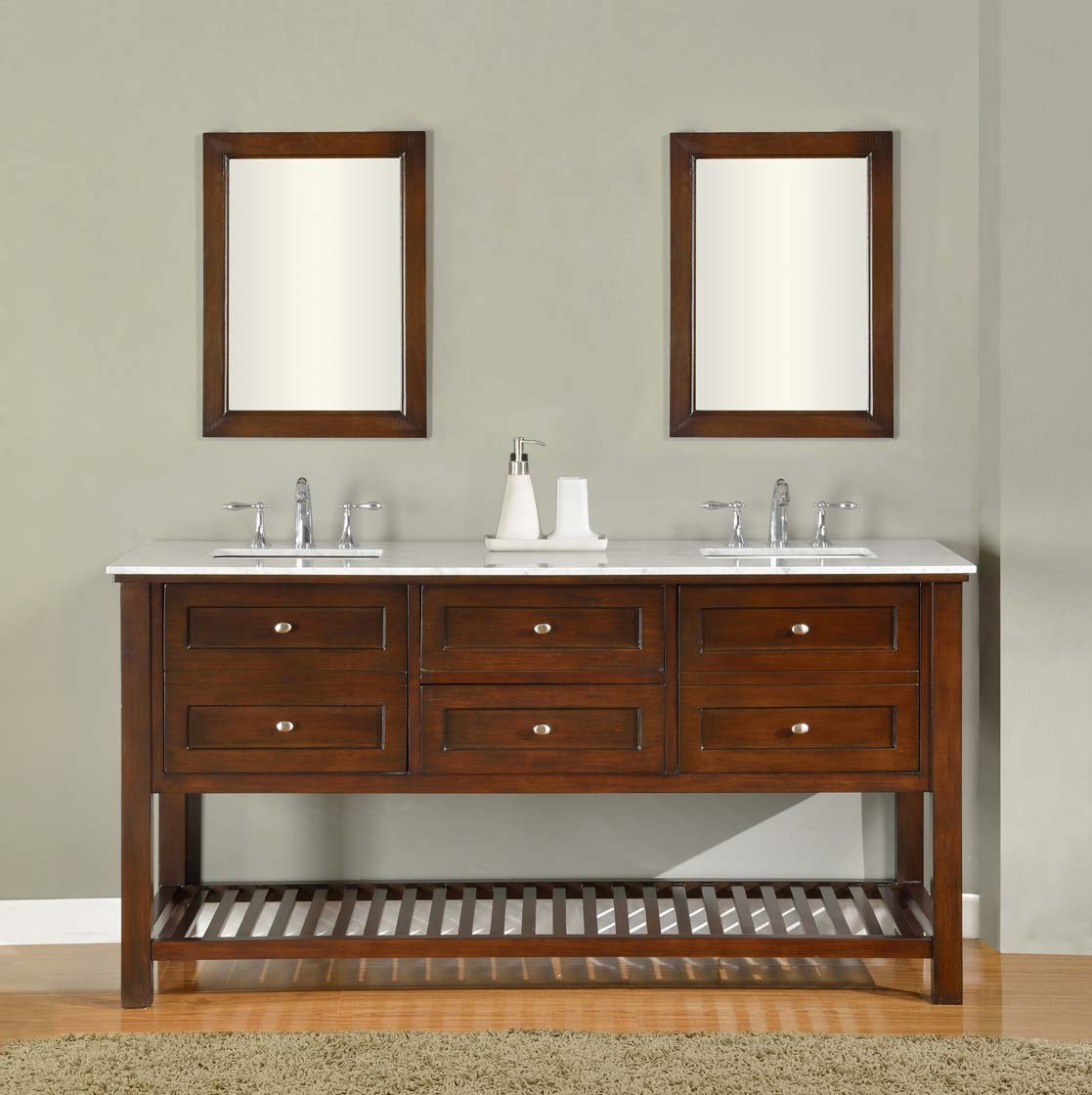 Bathroom Sink Cabinet Ideas: 70 Espresso Mission Spa Double Vanity Sink Cabinet With Carrera Bathroom Sink Cabinet Ideas