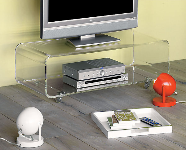 Contemporary Futuristic Home Furniture Comes With The Great Design: A Compact Acrylic Media Console