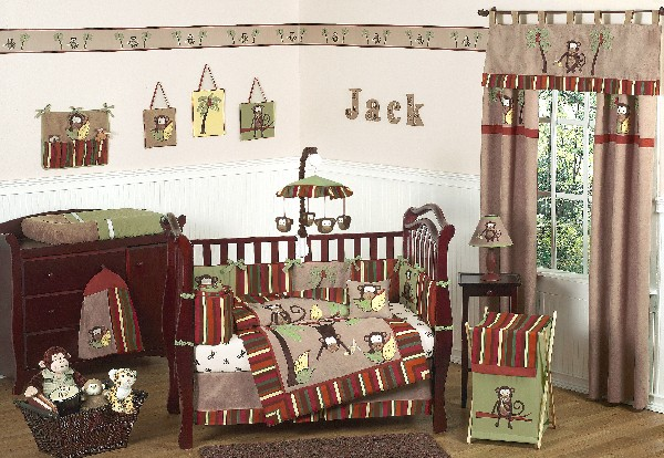 Colorful Baby Boy Nursery Interior Design : A Crib Full Of Monkeys To Kae Your Boys Bedding Endless Fun