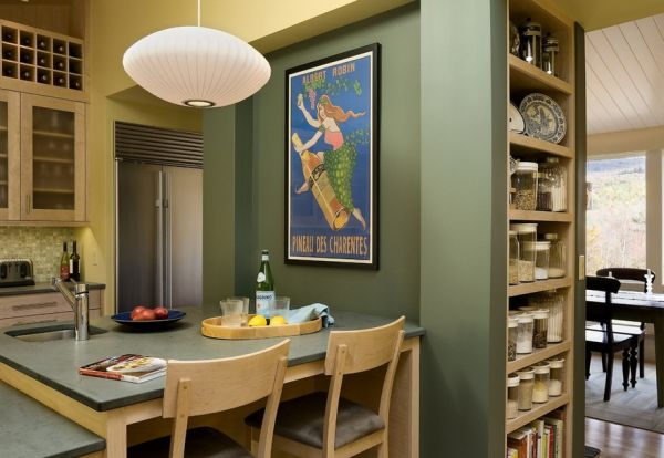 Simple Modern Design Inspiration For Your Home : A Dashing Poster Lights Up The Compact Kitchen Area