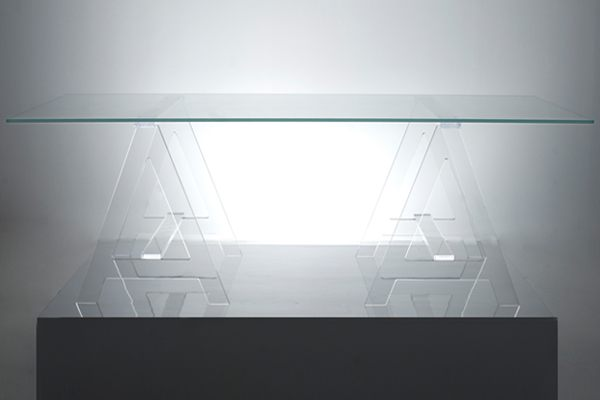 Acrylic Tables For Your Choice Of Unique Furniture: A Modern Acrylic Desk With Sawhorse Legs