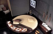 Astounding Round Beds For Amazing Bedroom Display: 27 Images : A Round Bed In Brown And Cream Used In A More Sober Setting