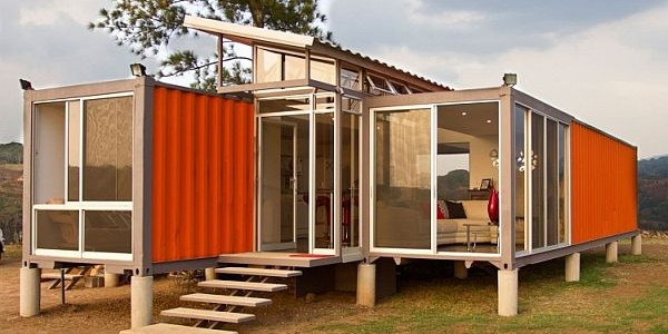 Fine Designed Houses Made From Shipping Containers With Classy Furnishings : A View Of The Entrance