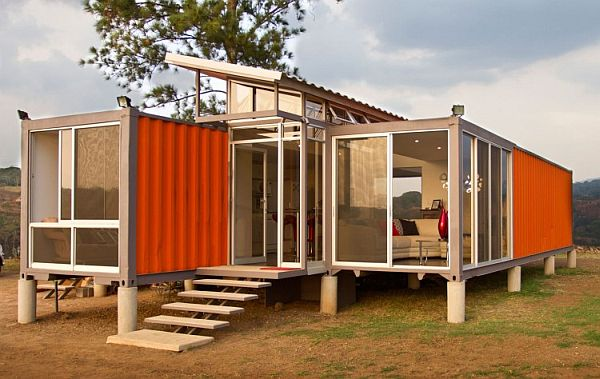 Fine Designed Houses Made From Shipping Containers With Classy Furnishings: A View Of The Entrance