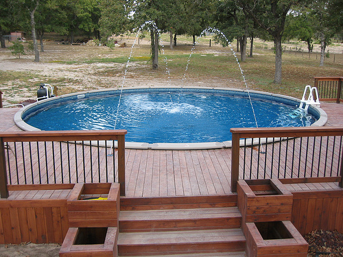 Joyful Above Ground Pool Decks With Natural Atmosphere : Above Ground Pool Decks Green Plants