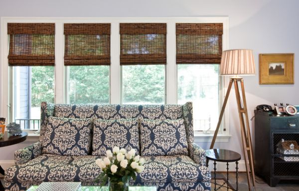 Sensational Bamboo Blinds In Contemporary House : Add Textural Contrast To Your Eclectic Living Space With Bamboo Blinds