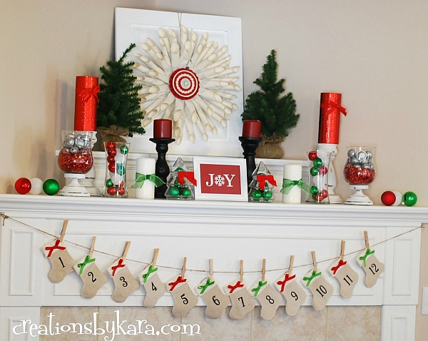 Amazing Fireplace Mantels For Your Best Christmas Ever : Advent Calenders Are A Great Idea To Decorate The Mantel Well Before Christmas