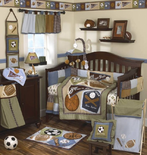 Colorful Baby Boy Nursery Interior Design : All Stars Sports Baby Crib For The Littlest Sports Fan In Your Family