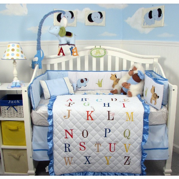 Colorful Baby Boy Nursery Interior Design : Alphabet Baby Bedding Set For Your Bright Tiny Tot