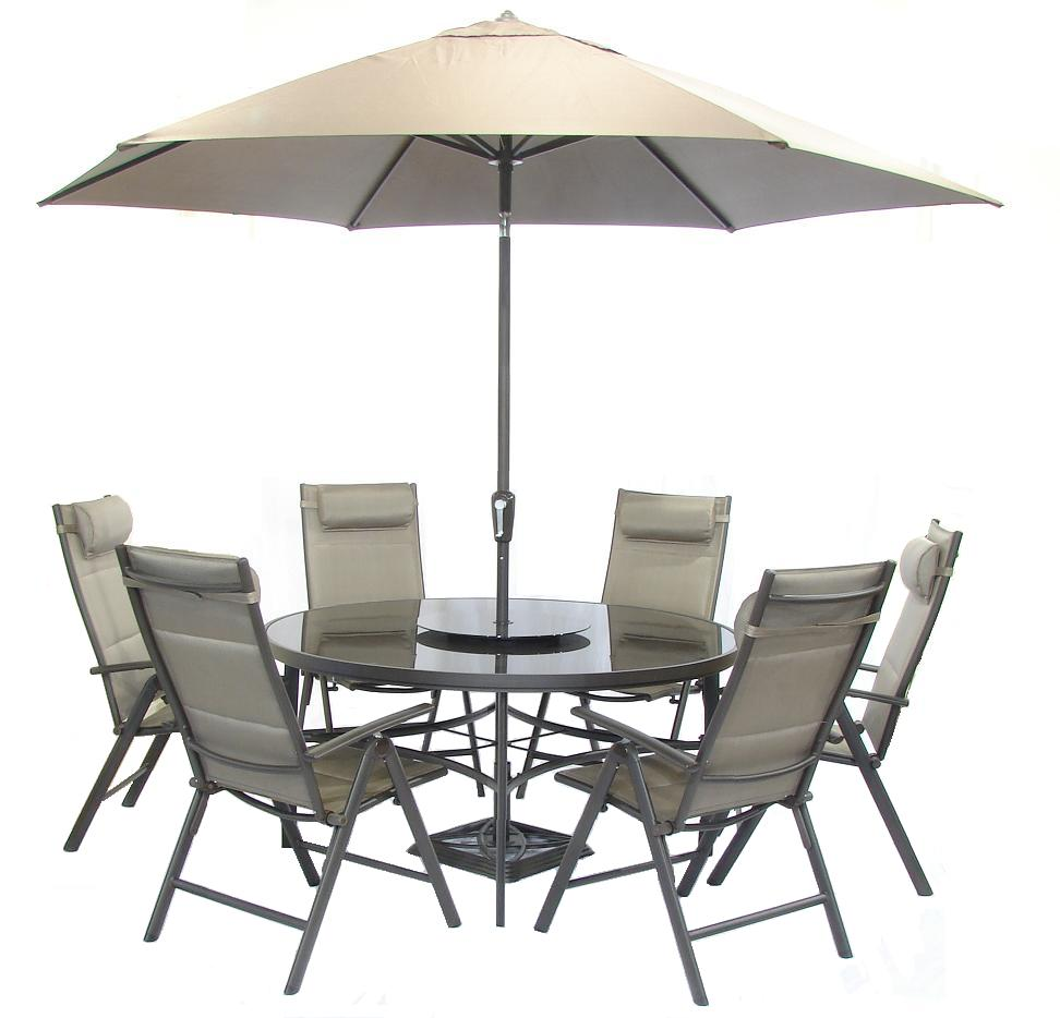 Aluminium Garden Furniture For Country House: Aluminium Textilene 6 Seater Round Recliner Garden Set