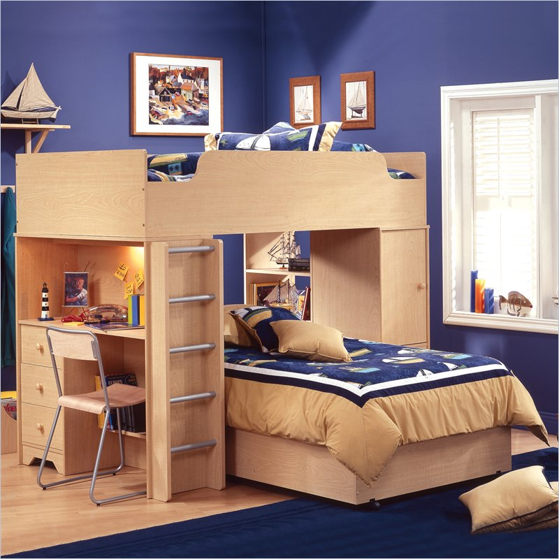 Simple L Shaped Bunk Beds For Small Bedroom Space: Amaizng L Shaped Bunk Beds With Study Desk