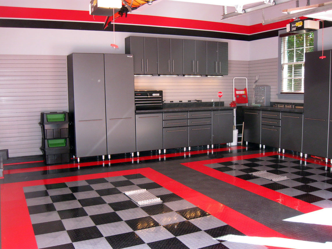 Fantastic Corner Garage Design Furnished With Great Furniture: Amazing Cabinet Soft Hidden Lights Corner Garage Design Cool Floor Design