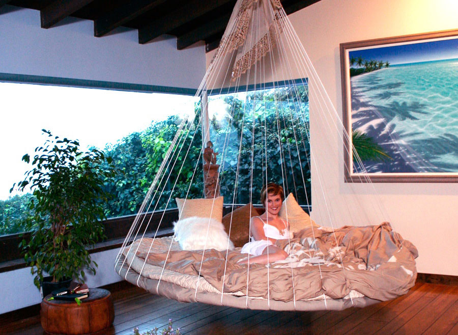 Modern Hammock Bed Decorating Ideas In Various Colors : Amazing Indoor Modern Hammock Bed Decorating Ideas Floating Bed