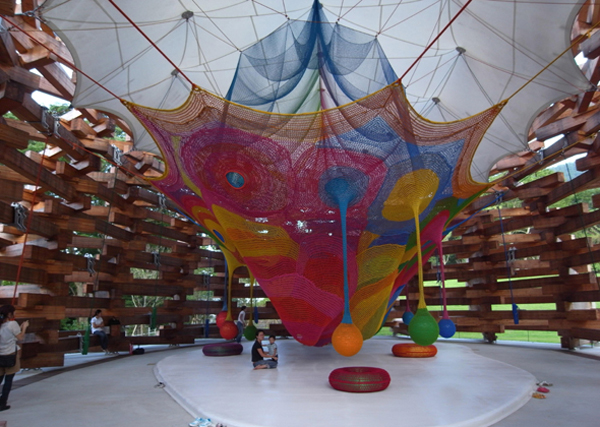 Fun Kids Space With Large Space: Amazing Kids Pavillion Playground With Colorful Net For Playing
