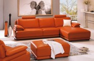 Orange Sofa As Cheerful Furniture : Amazing Leather Orange Sofa Modern Living Room Grey Rug