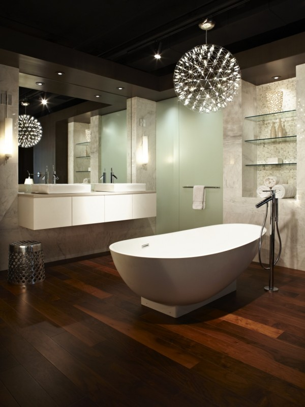 Inspirational Bathroom Designs Ideas Bring Out Natural And Cool Touch : Amazing Lighting Wooden Floor Stunning Bathroom Designs Ideas