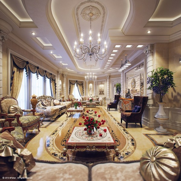 Extravagant Villa Design With Antique Style: Amazing Living Room Tiered Ceiling Luxury Villa In Qatar Furniture