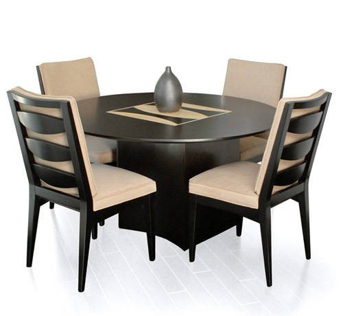 Attractive Round Table Dining Set In Both Modern And Classic Flairs : Amazing Modern Elegant Round Table Dining Set Brown Black Chair Design