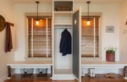 Luxurious Mud Rooms In White Color : Amazing Mud Rooms Ideas With Black Jacket And Blinds