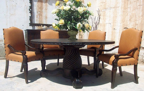 Attractive Round Table Dining Set In Both Modern And Classic Flairs: Amazing Round Table Dining Set Brown Chair Black Table Design ~ stevenwardhair.com Dining Room Design Inspiration