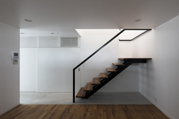Unique Compact Two Story House That Keeps The Noise Away: Amazing Staircase Design With Minimalist Modern Decoration Made From Wooden Material ~ stevenwardhair.com Home Design Inspiration
