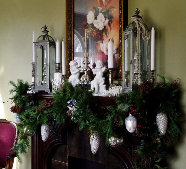 Cool Christmas Mantels Design With Colorful Ribbon And Glossy Ornament: Amazing Wall Mural Pinecone Adornment Christmas Mantels Design ~ stevenwardhair.com Tips & Ideas Inspiration