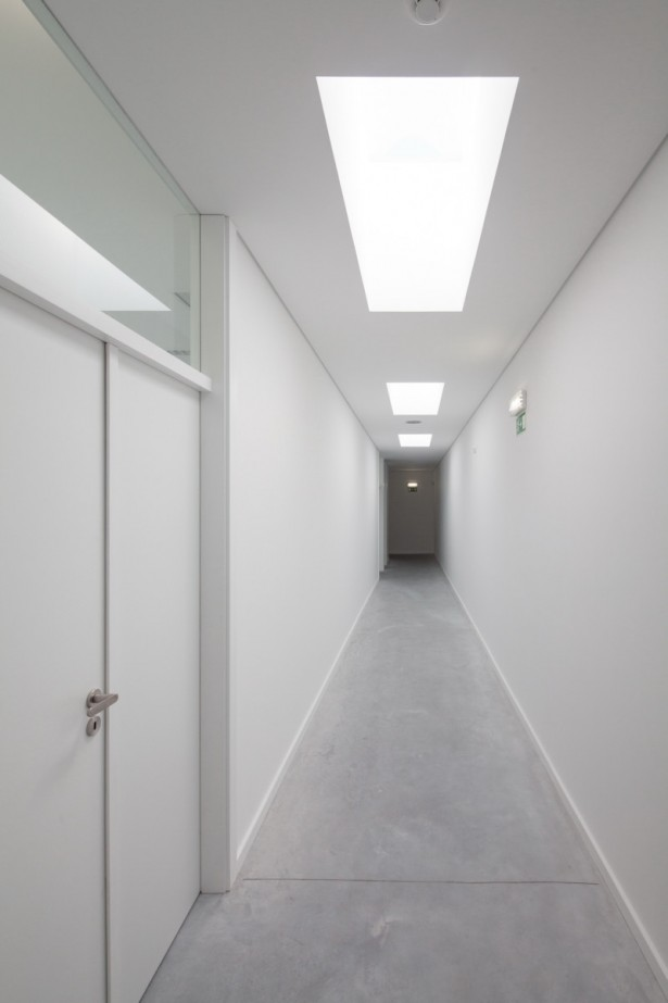 Oval Private College Design With Unique Architecture: Amazing White Hallway With White Lamps Inside The School Building ~ stevenwardhair.com Architecture Inspiration